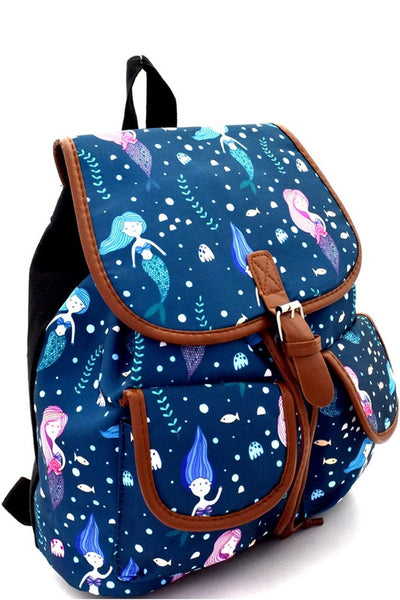 Mermaid Print Canvas Novelty Backpack - JEN'S KIDS BOUTIQUE