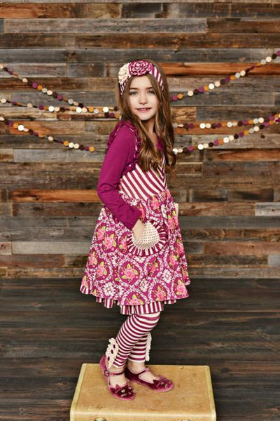 New Fall Serendipity Sugarplum Pocket Dress W/Stripped Legging Set - JEN'S KIDS BOUTIQUE
