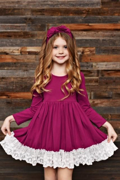 New Fall Serendipity Sugarplum Lace Trim Swing Dress C - JEN'S KIDS BOUTIQUE