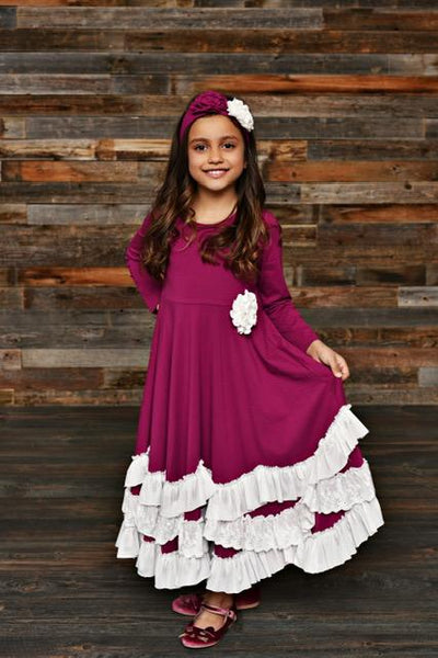 New Fall Serendipity Sugarplum Maxi Twirling Dress - JEN'S KIDS BOUTIQUE