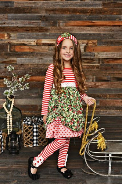 New Fall Serendipity Winter Berry Stripped Dress Legging Set C - JEN'S KIDS BOUTIQUE
