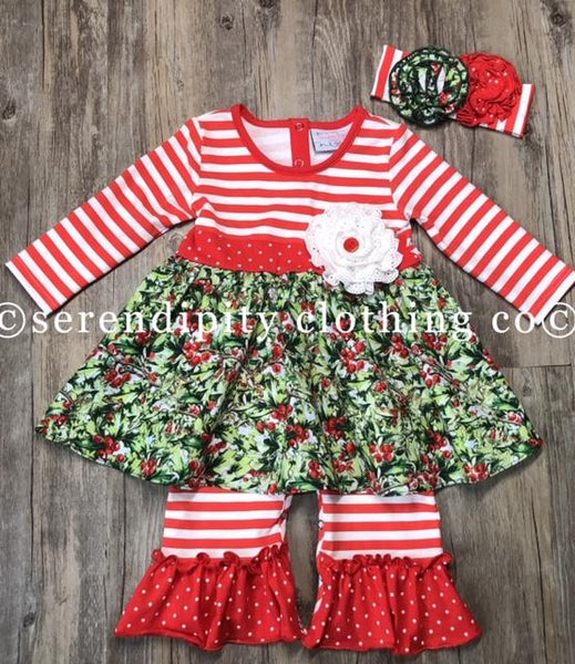 New Fall Serendipity Winter Berry Ruffle Infant Longall C - JEN'S KIDS BOUTIQUE