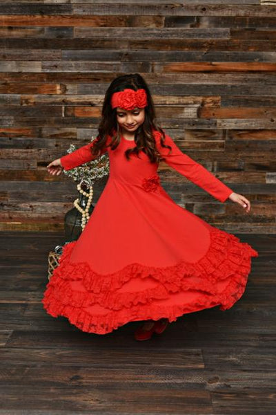 New Fall Serendipity Winter Red Lace Maxi Twirling Dress. - JEN'S KIDS BOUTIQUE