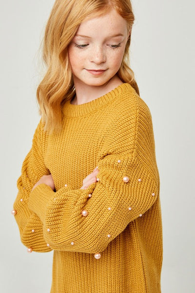 Fall Pull-Over Pearl & Mustard Sweater Top - JEN'S KIDS BOUTIQUE
