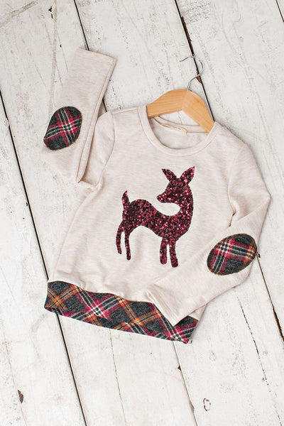 2018 Christmas Children's Sequin Deer Shirt With Patches On The Sleeves - JEN'S KIDS BOUTIQUE