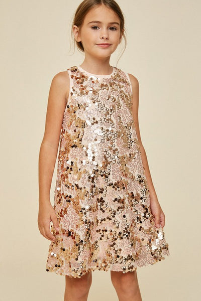 Girls Sleeveless Rose Gold Sequin Dress - JEN'S KIDS BOUTIQUE