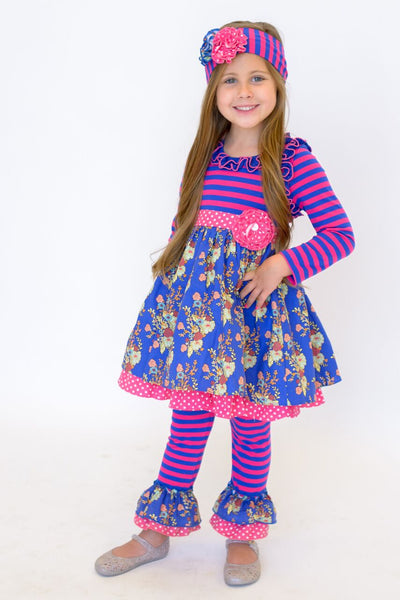 2018 Fall Serendipity Autumn Bloom Dress W/Legging - JEN'S KIDS BOUTIQUE