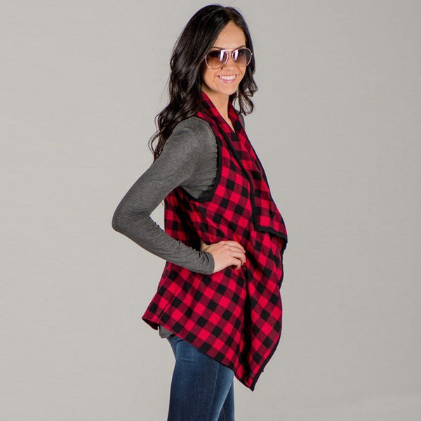 2018 Fall Womens  Red & Black Plaid Vest