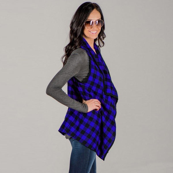 2018 Fall Womens  Blue & Black Plaid Vest