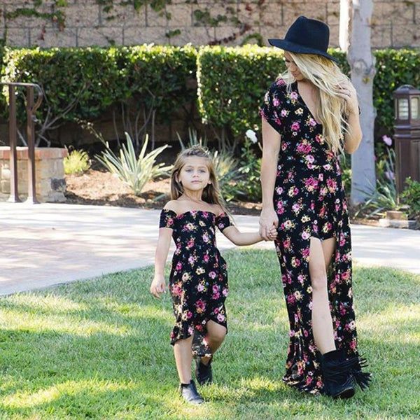 2018 Summer Mom & Me Girls Black Flower Girls Dress - JEN'S KIDS BOUTIQUE