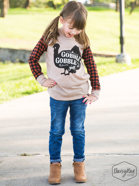 Fall Girls Gobble Gobble You'all on Beige Longsleeve Tee with Fall Plaid Sleeves - JEN'S KIDS BOUTIQUE