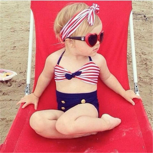 Summer 4th Of July Red White & Navy Three Piece Swimsuit - JEN'S KIDS BOUTIQUE