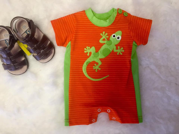 Wally & Willie By Peaches N Cream Spring Go Go Gecko Boys Infant Romper - JEN'S KIDS BOUTIQUE