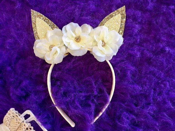 Bella Reese Easter Bunny Headbands Ivory & Gold - JEN'S KIDS BOUTIQUE