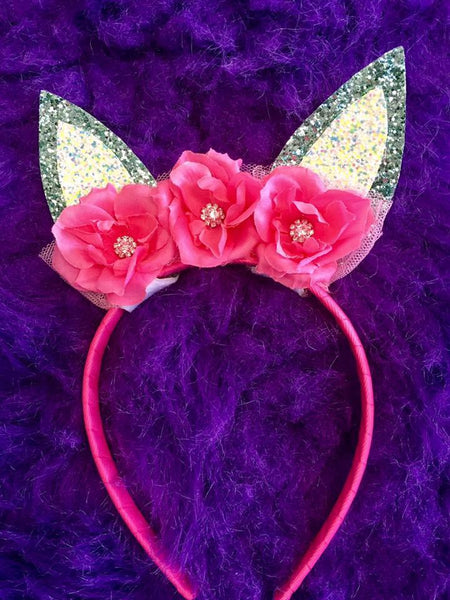 Bella Reese 2017 Easter Bunny Headbands Hot Pink & Silver - JEN'S KIDS BOUTIQUE