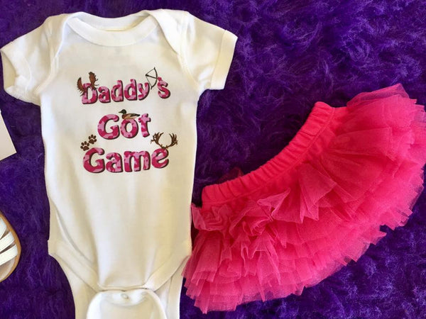 Mumsy Goose 2017 Infant White Daddys Got Game Onesie - JEN'S KIDS BOUTIQUE