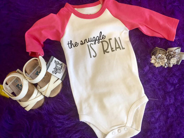 SideWalk Talk 2017 Infant Onesie The Snuggle Is Real Girl - JEN'S KIDS BOUTIQUE
