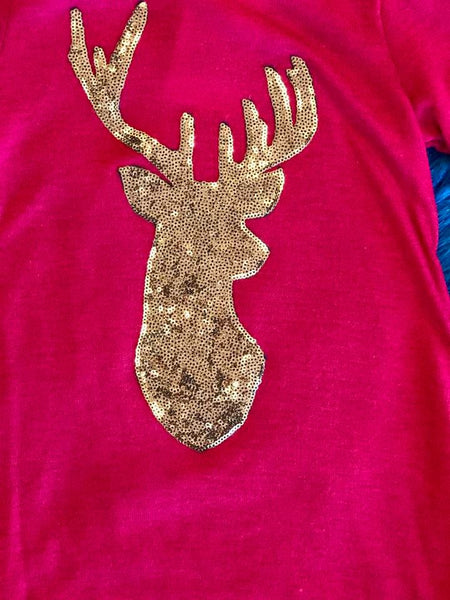 Just Kids 2017 Long Sleeve  Maroon Deer Shirt - JEN'S KIDS BOUTIQUE