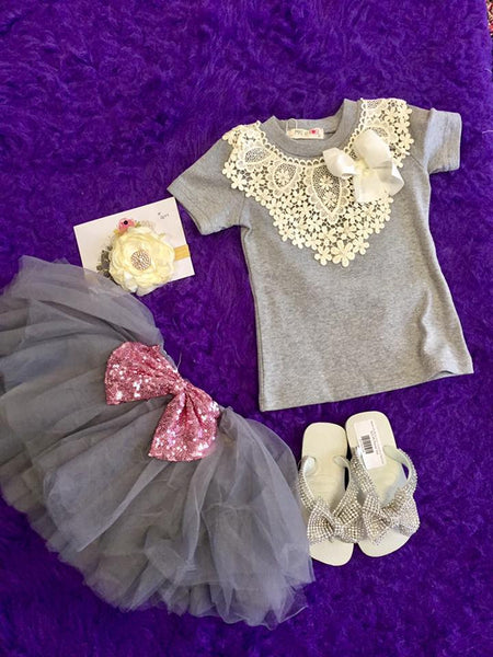 MAELI ROSE Spring Pointed Crochet Top Gray - JEN'S KIDS BOUTIQUE