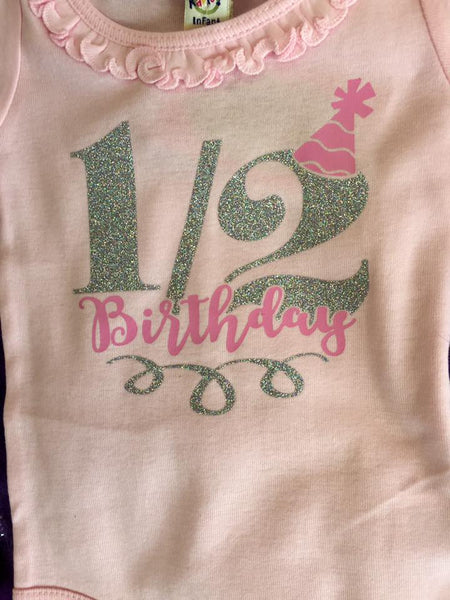 Jubalee 1/2 Birthday  Infant Onesie Pink - JEN'S KIDS BOUTIQUE