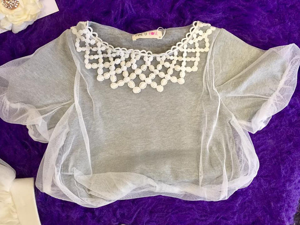 MAELI ROSE Spring Overlay Bubble Top Gray - JEN'S KIDS BOUTIQUE