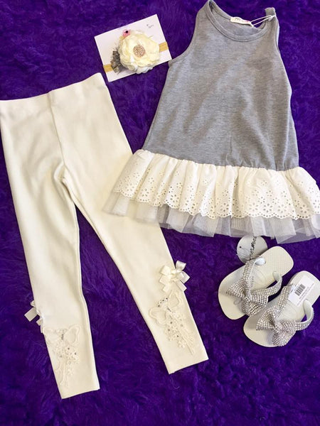 MAELI ROSE Spring Bow Crochet Leggings Ivory - JEN'S KIDS BOUTIQUE