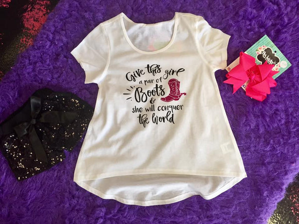 Jubilee Girls Give This Girl Boots White Shirt - JEN'S KIDS BOUTIQUE