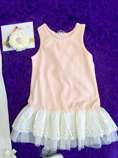 MAELI ROSE Spring Ruffle Long Tank Soft Peach - JEN'S KIDS BOUTIQUE