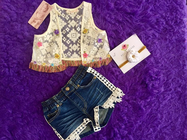 Baby Sara Lace Vest w/Flower Trim Detail & Multi Fringe At Hem - JEN'S KIDS BOUTIQUE