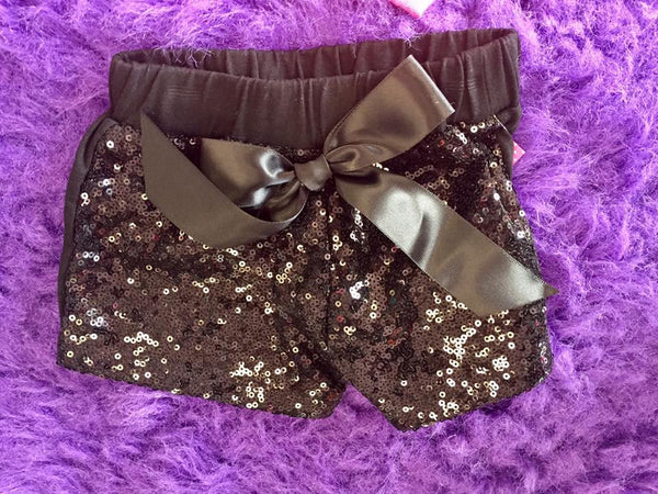 Jubilee Girls Sequin Dance Bow Shorts Black - JEN'S KIDS BOUTIQUE