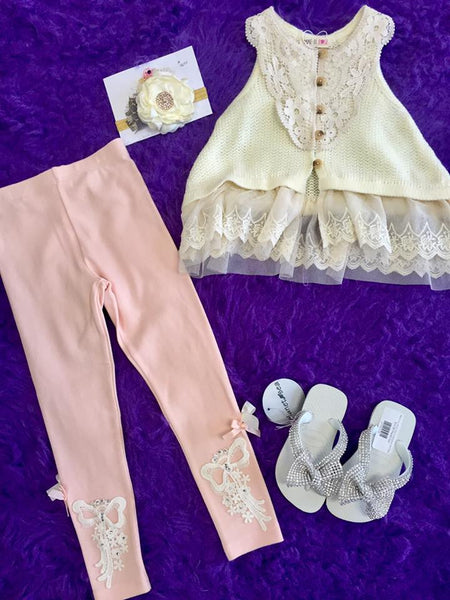 MAELI ROSE Spring Bow Crochet Leggings Peach - JEN'S KIDS BOUTIQUE