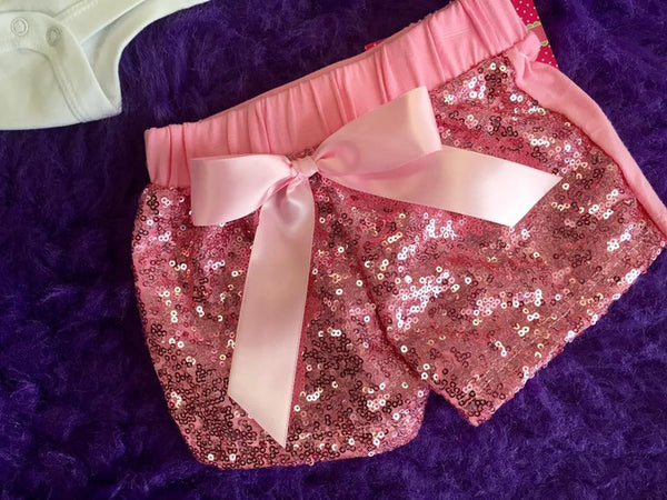 Jubilee Girls Sequin Dance Bow Shorts Pink - JEN'S KIDS BOUTIQUE