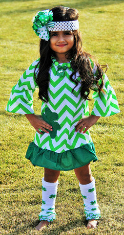 Saint Pattys Day White/Green Chevron Dress P - JEN'S KIDS BOUTIQUE