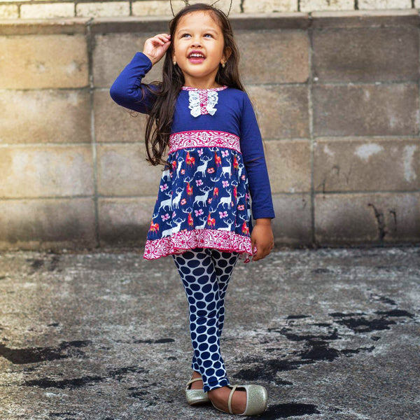 2018 Christmas Navy Blue Deer & Dots Deer Ruffle Pant Set - JEN'S KIDS BOUTIQUE