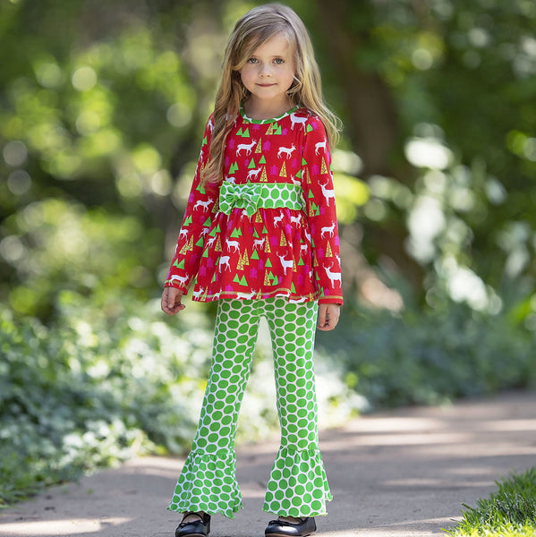 Christmas Red & Green Deer Ruffle Pant Set CH - JEN'S KIDS BOUTIQUE