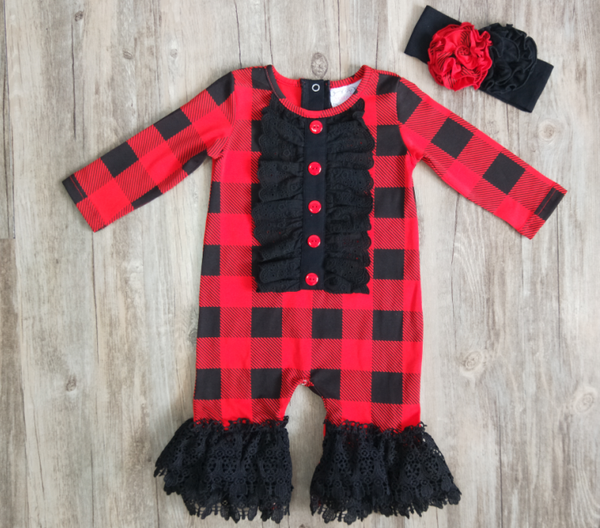 2018 Serendipity Lumber Jane Infant Ruffled Long All Romper - JEN'S KIDS BOUTIQUE