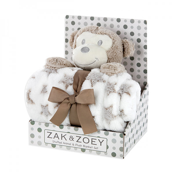 ZAK AND ZOEY PLUSH ANIMAL AND BABY BLANKET SET - Monkey - JEN'S KIDS BOUTIQUE