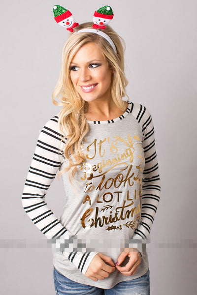 2018 Women;s Christmas Stripped & Gold Deer Long Sleeve Shirt