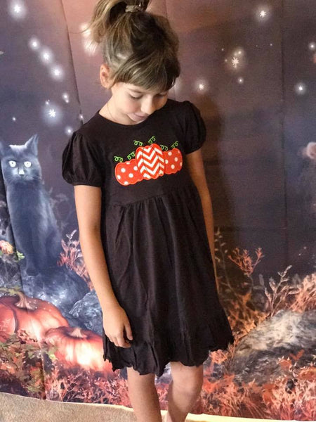 B & A  Cute As A Button Applique Pumpkin Dress TCL - JEN'S KIDS BOUTIQUE