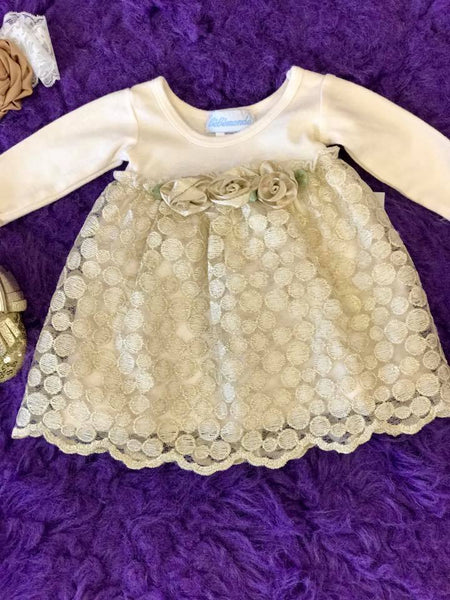 Bebemonde Beautiful  Fall Infant Sparkle Gold & White Rose Mesh Baby Dress - JEN'S KIDS BOUTIQUE
