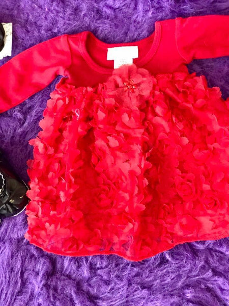 Bebemonde Beautiful  Fall Infant Red Rose Mesh Baby Dress - JEN'S KIDS BOUTIQUE