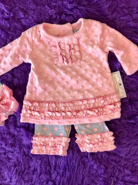 Three Sisters 2017 Fall Girls Pink Minky Rouched Legging Set - JEN'S KIDS BOUTIQUE