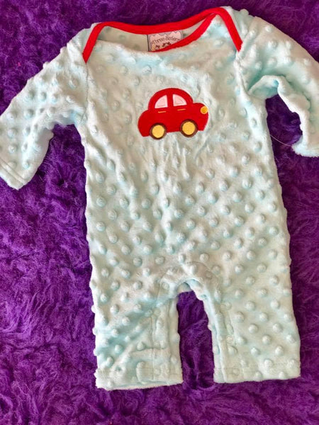 Three Sisters 2017 Fall Boys Car Applique Minky Romper
