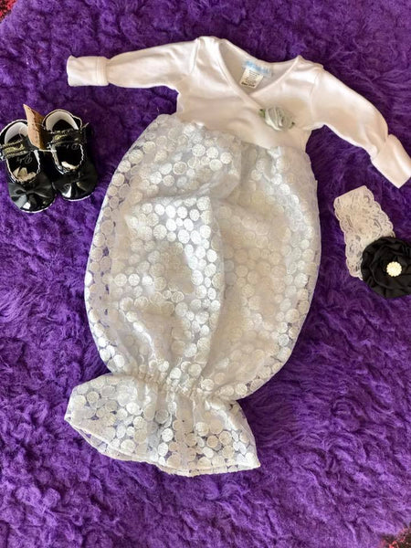 Bebemonde Beautiful  Fall Infant Silver & White Sparkle Ribbon Baby Sac - JEN'S KIDS BOUTIQUE