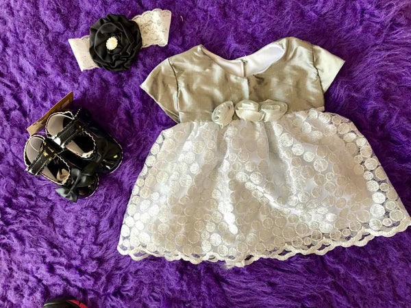 Bebemonde Beautiful  Fall Infant Sparkle Silver & White Rose Mesh Baby Dress