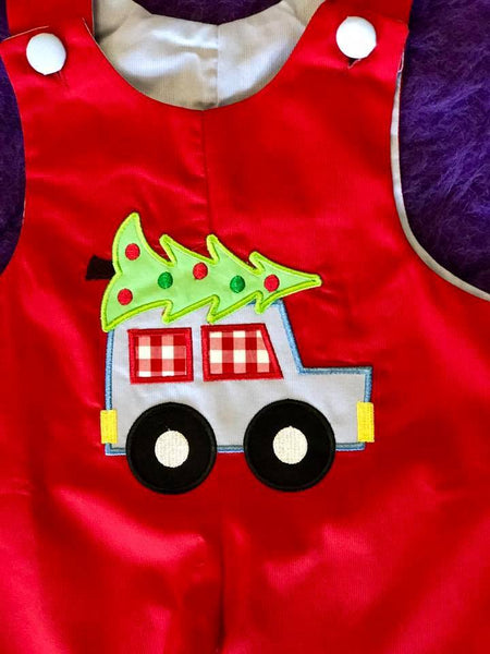 B & A  Christmas Red Car Reversible Boys Romper - JEN'S KIDS BOUTIQUE