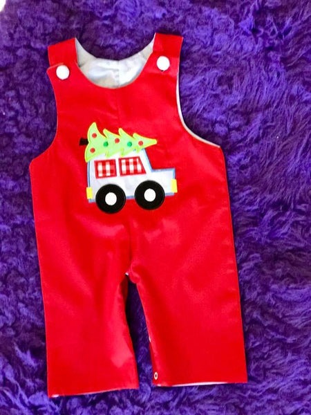 B & A 2017 Christmas Red Car Reversible Boys Romper - JEN'S KIDS BOUTIQUE