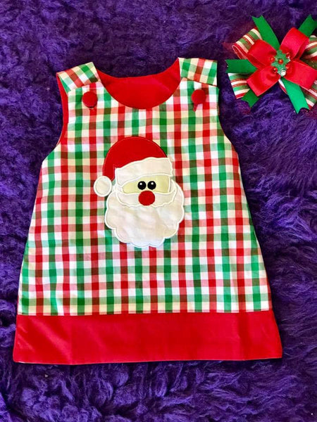B & A 2017 Adorable Christmas Red/Green Gingham Santa Applique  Dress - JEN'S KIDS BOUTIQUE