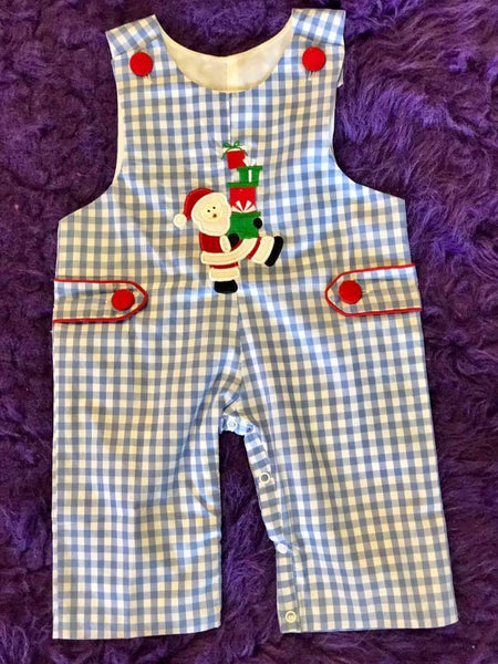 B & A  Christmas Blue/White Santa & Presents Boys Romper CH - JEN'S KIDS BOUTIQUE