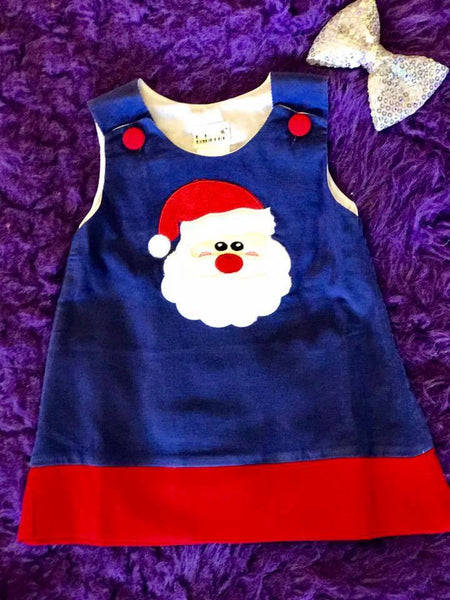 B & A Adorable Christmas Blue Santa Applique  Dress - JEN'S KIDS BOUTIQUE